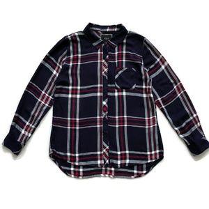 Rails Shirt Blouse Button Down Plaid Checks Blue